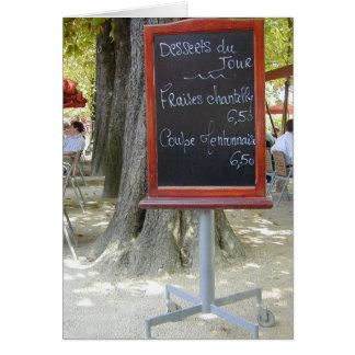 Panneau français de déjeuner cartes