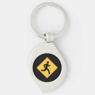 Panneau routier - coureur porte-clés