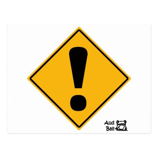 panneau routier de point d 39 exclamation cartes postales zazzle. Black Bedroom Furniture Sets. Home Design Ideas