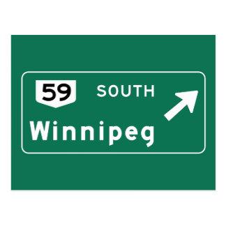 Panneau routier de Winnipeg, Canada Cartes Postales