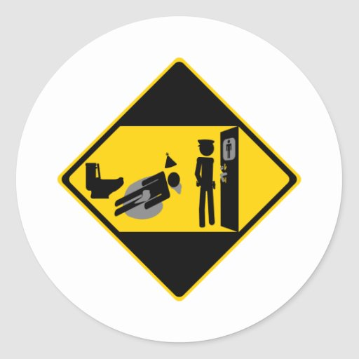 Panneau routier ridicule de Captian Autocollant Rond