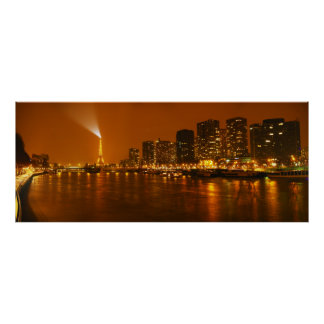 Panorama d horizon de nuit de Pont Mirabeau Paris Posters