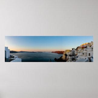 Panorama de lever de soleil de Santorini Poster