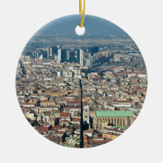 Panorama de Naples Ornement Rond En Céramique