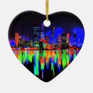 Panorama de ville ornement cœur en céramique