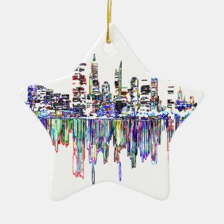 Panorama de ville ornement étoile en céramique