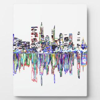 Panorama de ville plaque photo