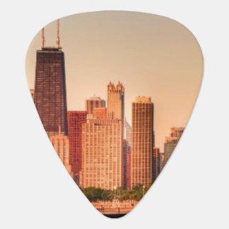 Panorama d'horizon de Chicago au lever de soleil Onglet De Guitare
