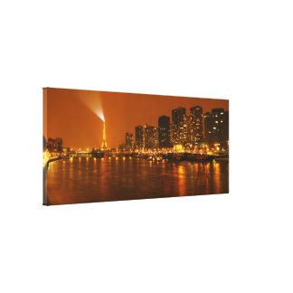 Panorama d'horizon de nuit de Pont Mirabeau Paris  Impression Sur Toile
