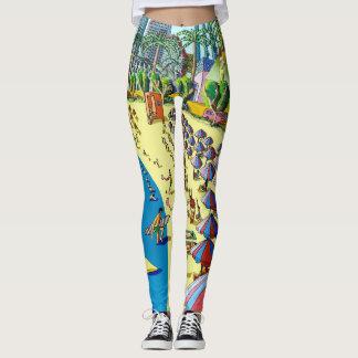 Pantalon de yoga de scène de plage de bande leggings