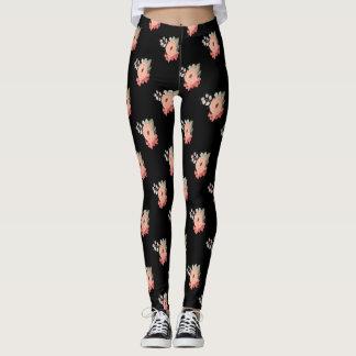 Pantalon rose de fleur de guêtres florales noires leggings