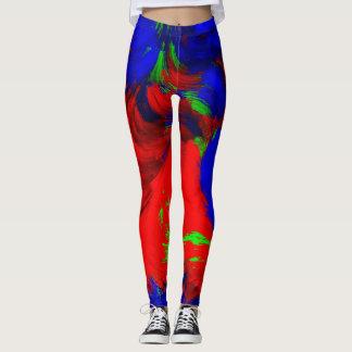 Pantalon vert-bleu rouge abstrait lumineux de leggings