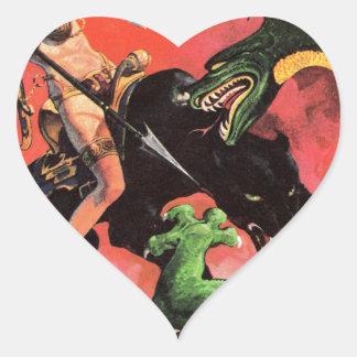 Panthère contre le dinosaure sticker cœur