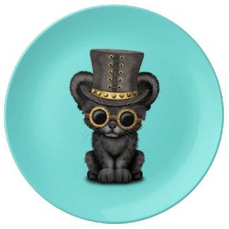 Panthère noire mignonne CUB de Steampunk Assiette En Porcelaine