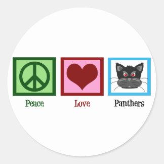 Panthères d'amour de paix sticker rond
