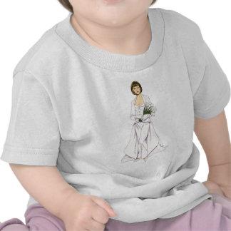 Pantsuit de mariage de satin t-shirt
