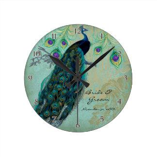 Paon antique et mariage personnalisé gravure à l'e horloge ronde