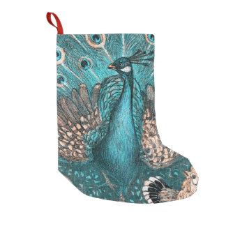 paon bleu petite chaussette de noël