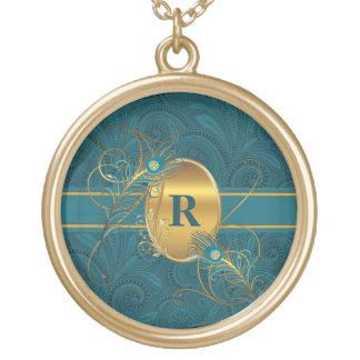 Paon décoré d'un monogramme dans Teal et des Pendentif Rond