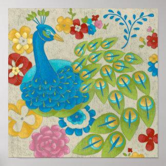 Paon et fleurs colorés posters