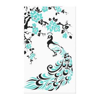 Paon et fleurs de cerisier de turquoise faits sur  toiles