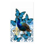 Paon et papillons bleus carte de visite