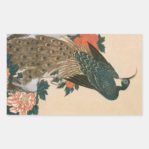 Paon et pivoines par Hiroshige, art japonais Autocollant En Rectangle