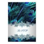 Paon indien d'argent de bleu royal épousant RSVP Carton D'invitation 8,89 Cm X 12,70 Cm