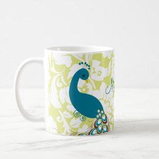 Paon moderne élégant de damassé personnalisé mug