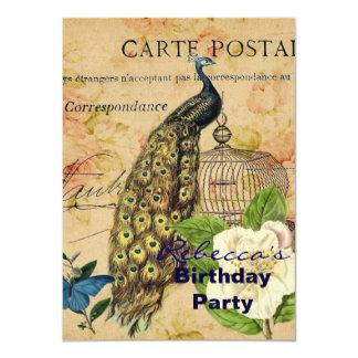 paon rose botanique français de cru de cage à carton d'invitation  11,43 cm x 15,87 cm