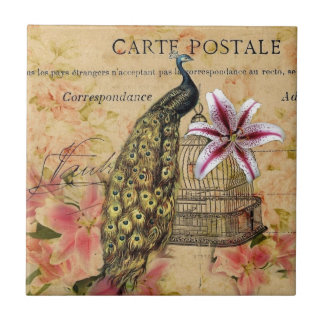 paon vintage moderne de lis botanique français petit carreau carré