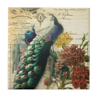 paon vintage moderne de pays français floral de carreau