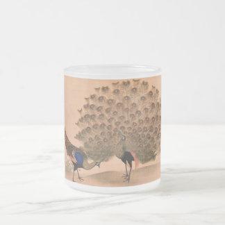Paon vintage mug en verre givré