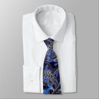 Paon vintage noir de Paisley de marine et d'or Cravates