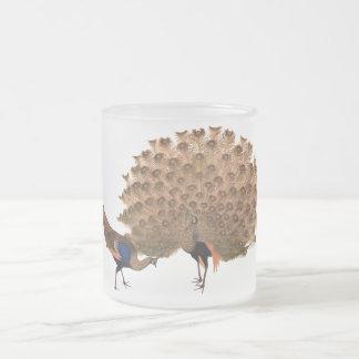 Paons asiatiques vintages mug en verre givré