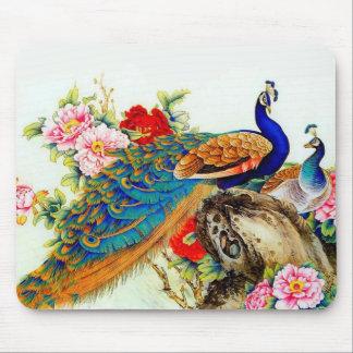Paons colorés vintages tapis de souris
