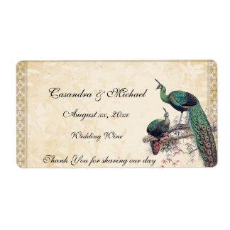 Paons élégants épousant l'étiquette de vin étiquettes d'expédition