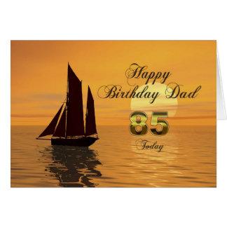 Papa, 85th carte d'anniversaire de yacht de