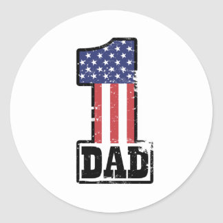 Papa américain du numéro un sticker rond