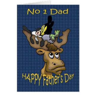 Papa de carte de fête des pères, avec les cerfs