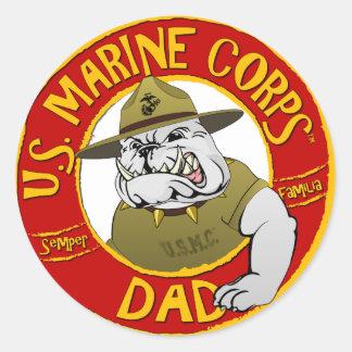 Papa de Corp. marine Sticker Rond