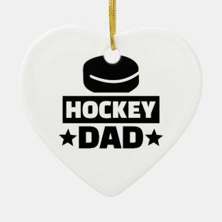 Papa d'hockey ornement cœur en céramique