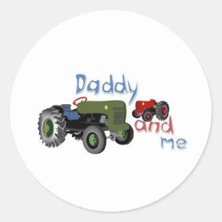 Papa et moi tracteurs sticker rond