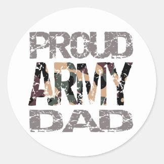 Papa fier d'armée sticker rond