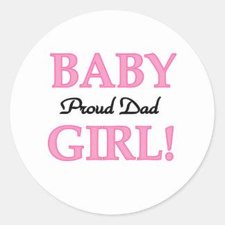 Papa fier de bébé sticker rond