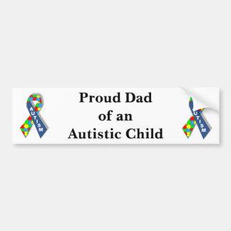 """""""Papa fier d'un enfant autiste """" Autocollant De Voiture"""