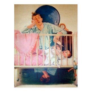 Papa somnolent vintage carte postale