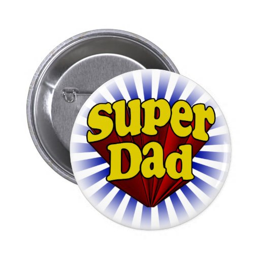 Papa superbe, super héros rouge/jaune/bleu badge avec épingle