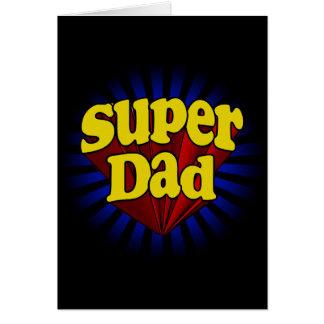 Papa superbe, super héros rouge/jaune/bleu cartes