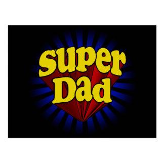 Papa superbe, super héros rouge/jaune/bleu carte postale